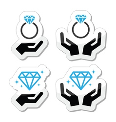 Diamond engagement ring with hands icon vector