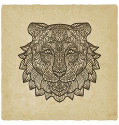 Tiger head on grunge background vector