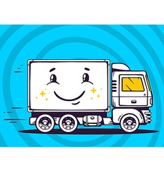 Smile truck free and fast delivering to c vector