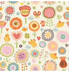 Pattern with birds and flowers vector
