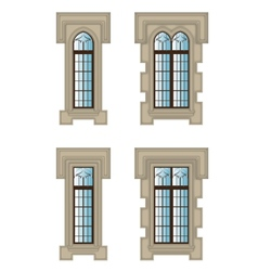 Gothic windows set vector