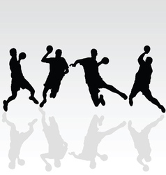 Handball black player on white vector