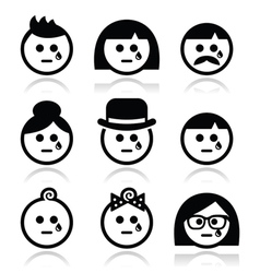 Crying people faces - man woman baby icons set vector