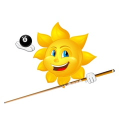 Smiling sun is playing billiards vector
