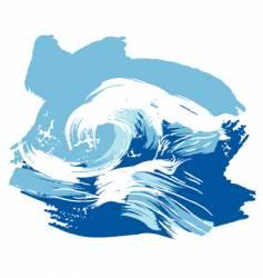 Stylized brushed ocean waves splash vector