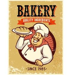 Retro style baker presenting a bread vector