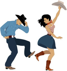 Country western dancers vector