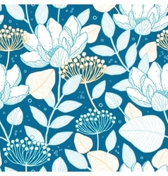 Blue gold floral seamless pattern vector