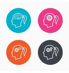 Head with brain icon female woman symbols vector