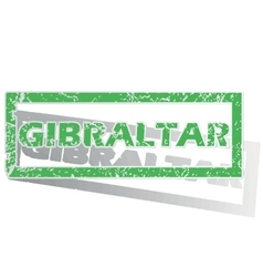 Green outlined gibraltar stamp vector