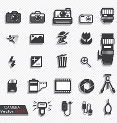 Photography camera lens icons set vector