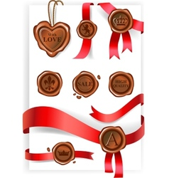 Wax seal and red ribbons collection vector