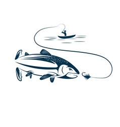 Fisherman in boat and salmon vector