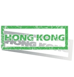 Green outlined hong kong stamp vector