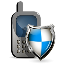 Phone and shield vector