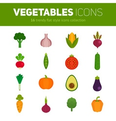 Trendy set of stylish flat vegetable icons vector