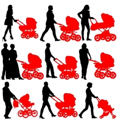 Silhouettes walkings mothers with baby strollers vector