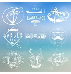 Hipster white vintage labels background vector