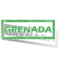 Green outlined grenada stamp vector