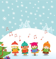 Caroler kids vector
