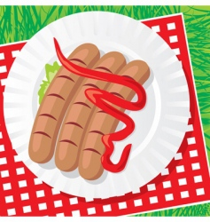 Plate with sausages vector