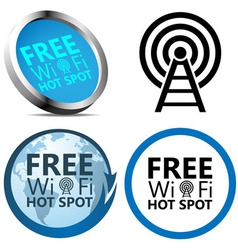 Free wi-fi internet access signs vector