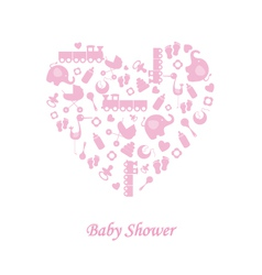 Baby girl birth card vector