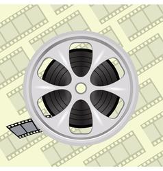 Cinema film tape on disc vector