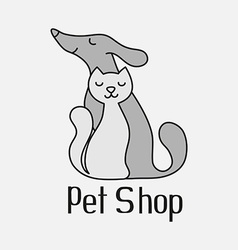 Cat and dog sign for pet shop logo vector