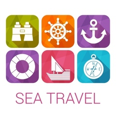 Sea travel icons in flat style vector