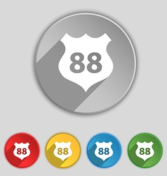 Route 88 highway icon sign symbol on five flat vector