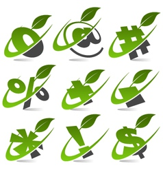 Swoosh green symbols logo set5 vector