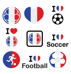 I love french football soccer icons set vector