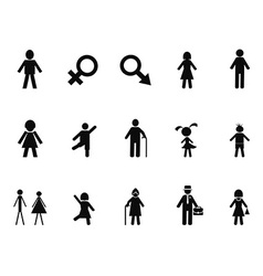 Black male female stick figure icons set vector
