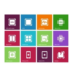 Processor computer hardware icons on color vector