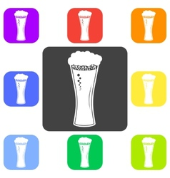Beer in glass icon flat vector