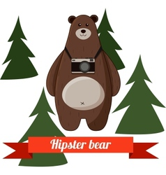 Funny cartoon hipster bear photographer background vector