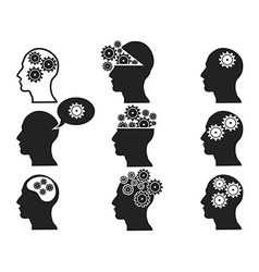 Head with gears icon set vector