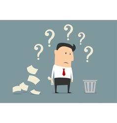 Perplexed confused businessman vector