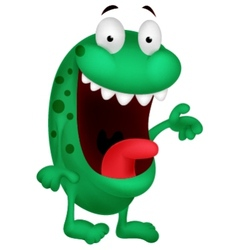 Cute green monster cartoon vector