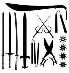 Set of silhouettes bladed weapons vector