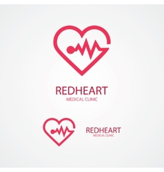 Design logo combination of a heart and pulse vector