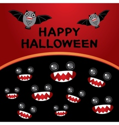 Happy halloween card bats monsters black and red vector