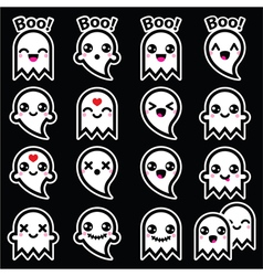 Kawaii cute ghost for halloween icons on black vector