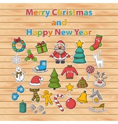 Happy new year and merry christmas sticker set vector