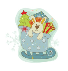 Retro christmas bunny card vector