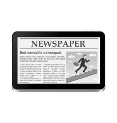 Tablet pc with online newspaper vector
