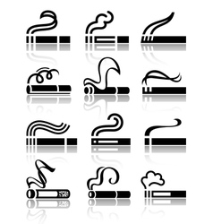 The set of black symbols cigarettes vector