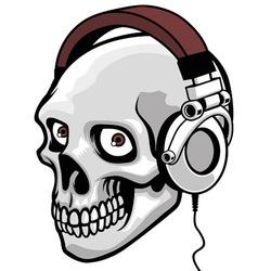 Skull wearing headphone vector