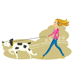 Young woman walking the dog vector